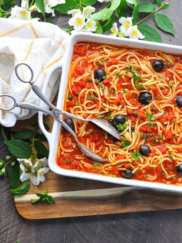 Dump and Bake Pasta Puttanesca is an easy pasta recipe for your next dinner