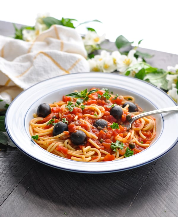 Pasta Puttanesca is a healthy and easy dinner idea for busy nights!