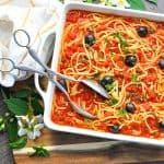 The pasta and the puttanesca sauce bake in one pot for a healthy dinner!