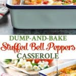 Serve a healthy and easy dinner with this Dump and Bake Stuffed Bell Peppers Casserole!
