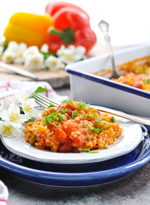 This Dump and Bake Stuffed Bell Peppers Casserole is a healthy and family friendly easy dinner recipe!