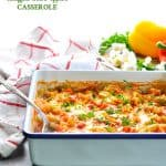 You can make this healthy and low calorie Dump and Bake Stuffed Bell Peppers Casserole with ground beef or ground turkey!