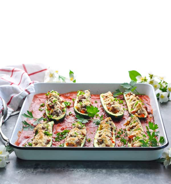 Use up your summer zucchini or squash with this easy stuffed zucchini boats recipe!