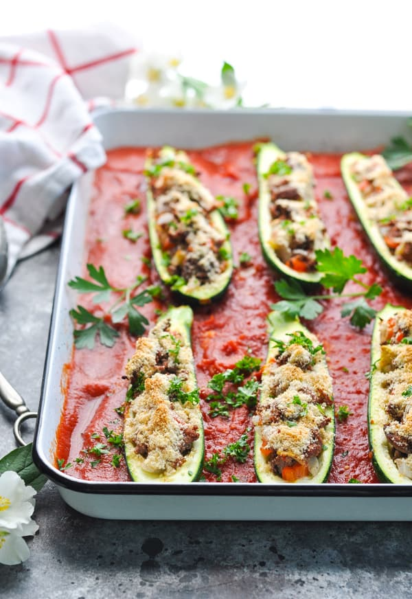 Stuffed Zucchini Boats can be made with beef or vegan for a great way to use up summer zucchini!