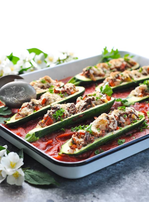 Stuffed Zucchini Boats are an easy and healthy make ahead dinner!