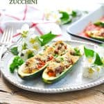 Use up summer vegetables in this easy stuffed zucchini boats healthy dinner recipe