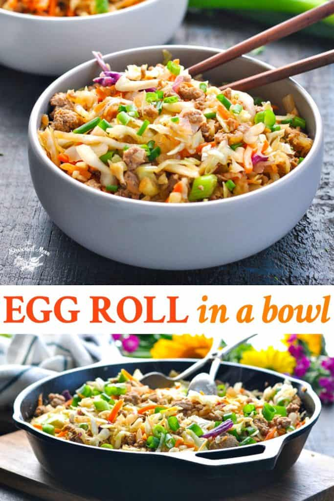 Egg Roll in a Bowl long collage with text