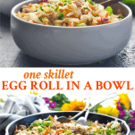 Long collage image of Egg Roll in a Bowl recipe