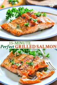 Long collage of grilled salmon