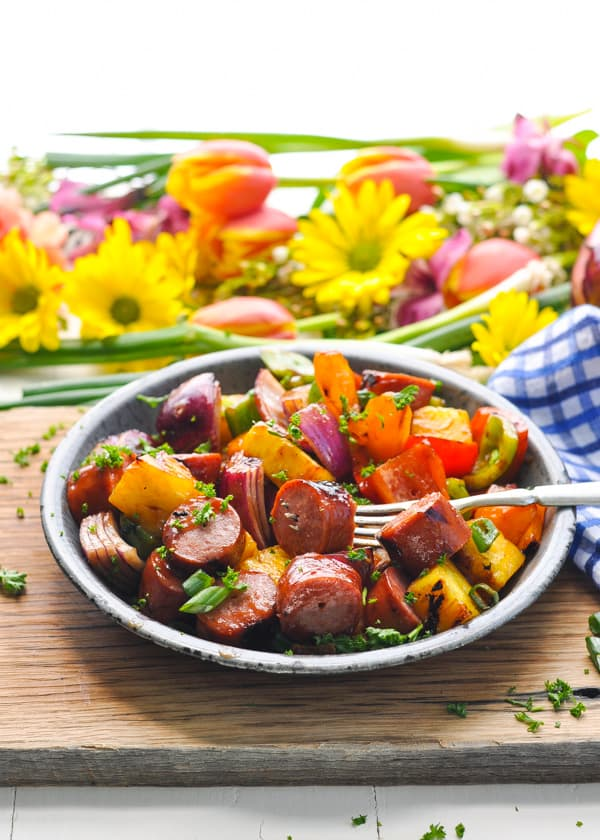 Kabobs made with kielbasa, pineapple, bell peppers, and onions!