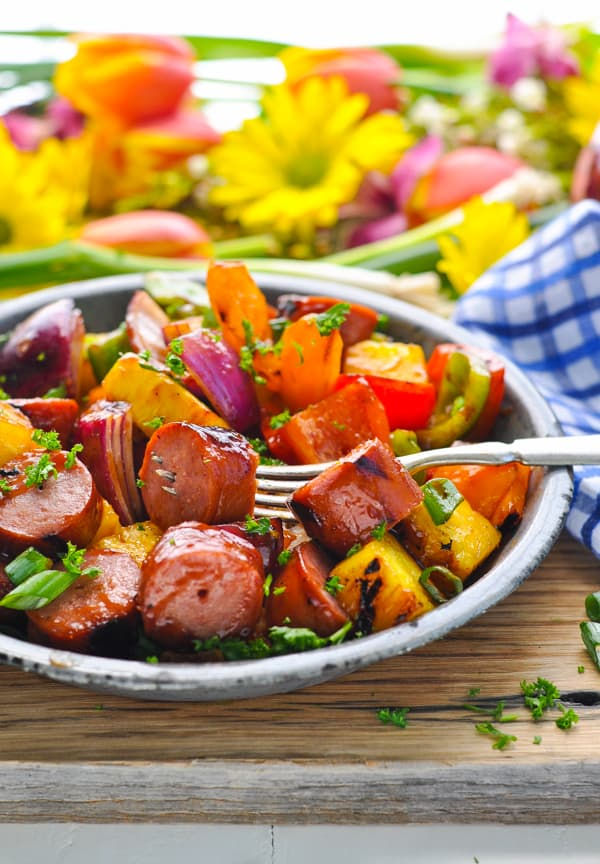Hawaiian Kielbasa Kabobs are the perfect dinner for your next camping trip!