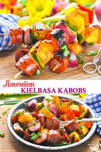 Long collage of grilled Hawaiian Kielbasa Kabobs