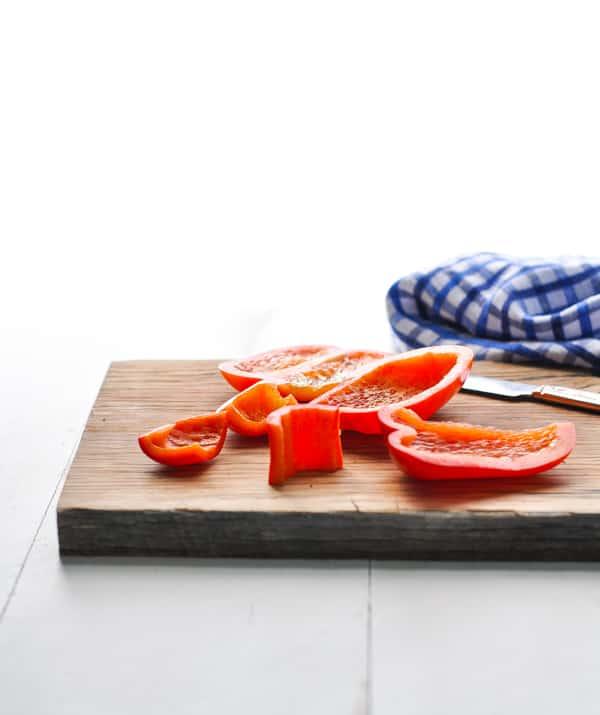 Sliced red bell pepper.