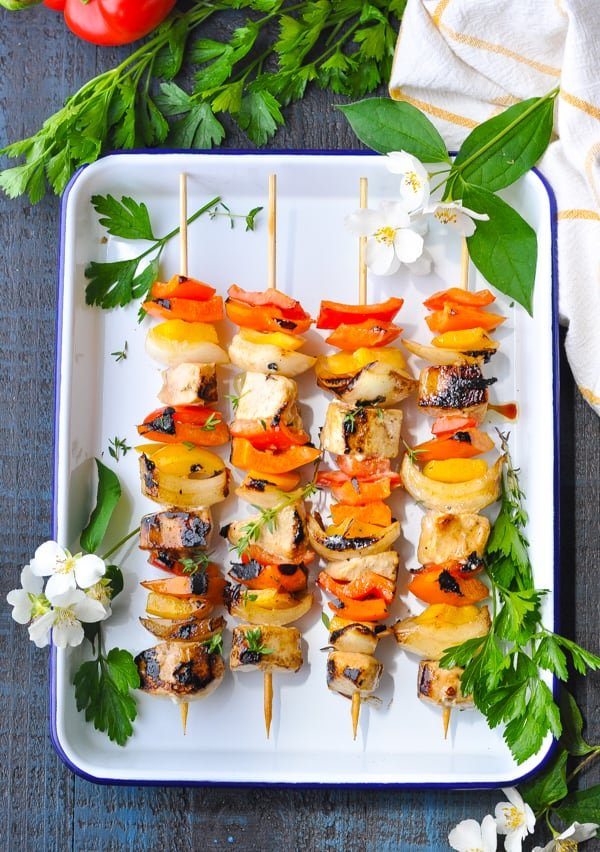 Tray of easy grilled Ranch Chicken Kabobs for dinner.