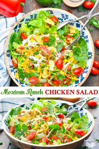 Long collage of Instant Pot or Slow Cooker Mexican Ranch Chicken Salad
