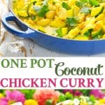 A simple one pot coconut chicken curry is a healthy dinner!