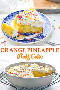 Long collage of Orange Pineapple Fluff Cake from a cake mix