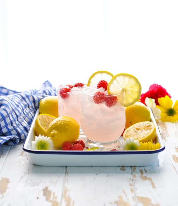 Tray of Italian Spritz Cocktails made with Pink Lemonade