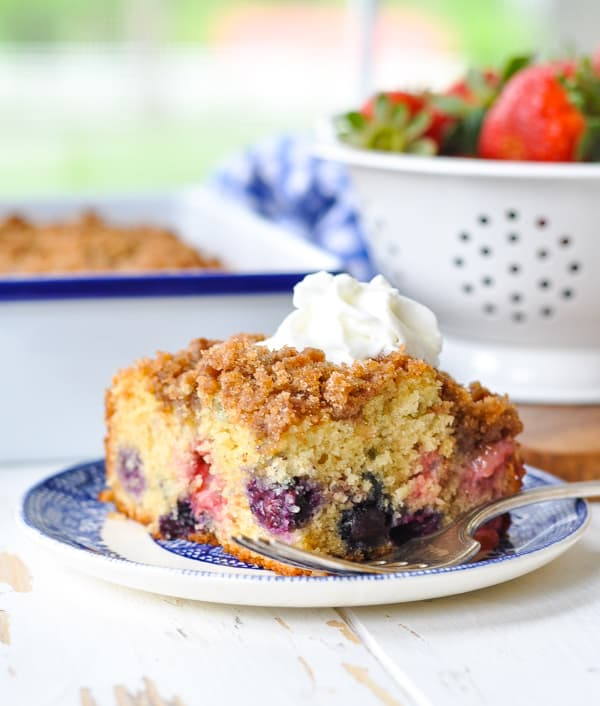 An easy Fourth of July dessert or breakfast comes together in this Blueberry Buckle cake.