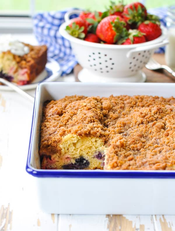 Enjoy strawberries and blueberries in this Old Fashioned Blueberry Buckle!