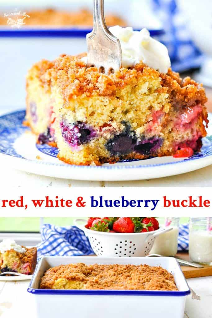 Long collage of blueberry buckle recipe