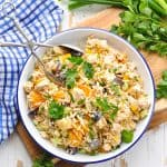 Easy and healthy Southern Chicken and Rice Salad for a make ahead summer dinner or lunch.
