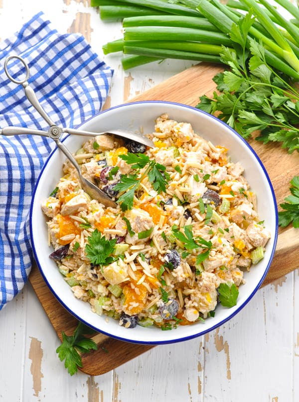 Bowl of Southern Chicken and Rice Salad for an easy dinner recipe!