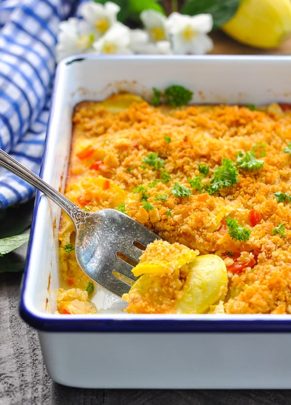 A simple Southern Squash Casserole is a great way to use zucchini or yellow squash this summer!
