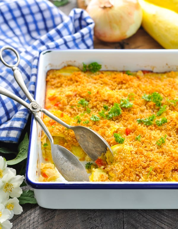 Even kids love this easy vegetable side dish recipe -- Southern Squash Casserole!