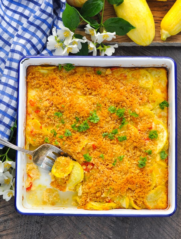 Plenty of cooked yellow squash in this classic Southern Squash Casserole.