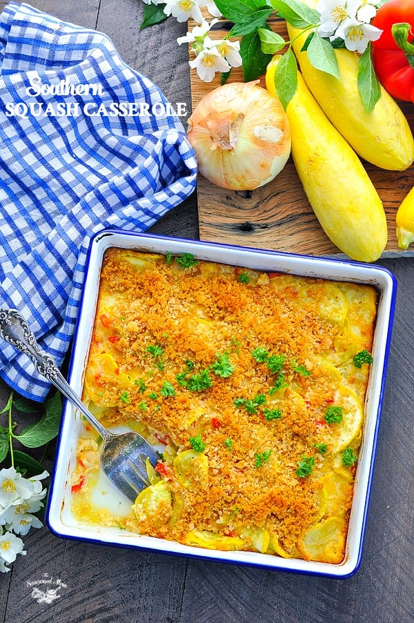 A pan of simple Southern Squash Casserole made with zucchini or yellow squash keeps the family happy!