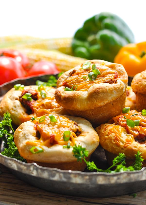 5 Ingredient Taco Biscuit Cups piled on a serving platter
