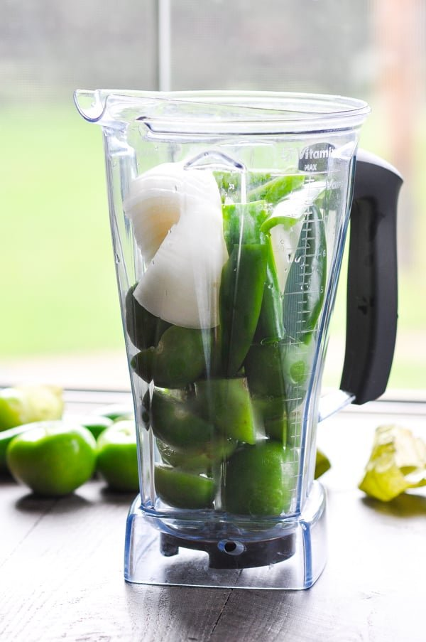 Make a fresh blender salsa verde with tomatillos!