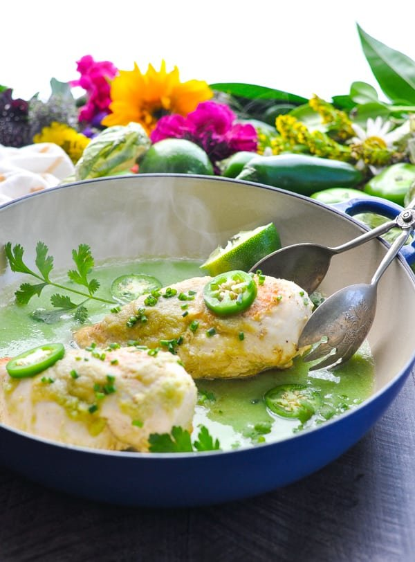 Brown chicken breasts in a skillet and simmer with tomatillo salsa verde