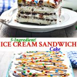 Long collage of Ice Cream Sandwich Cake