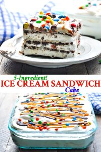 Long collage of Ice Cream Sandwich Cake