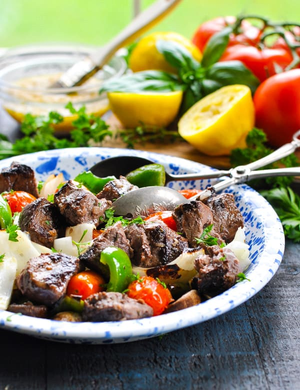 Beef Shish Kabobs and Vegetable Skewers are an easy make ahead dinner recipe