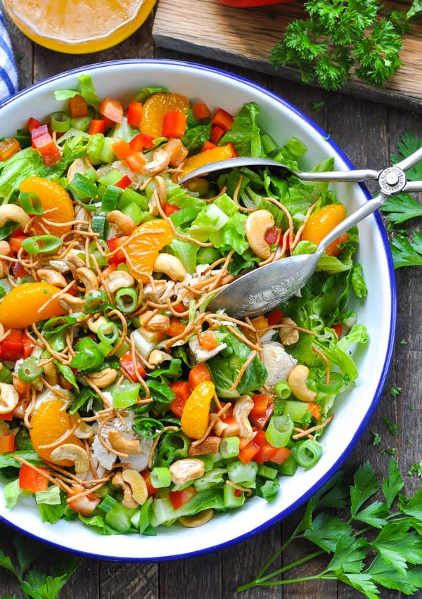 Bowl of Chinese Chicken Salad with Cashews for an easy and healthy dinner recipe.