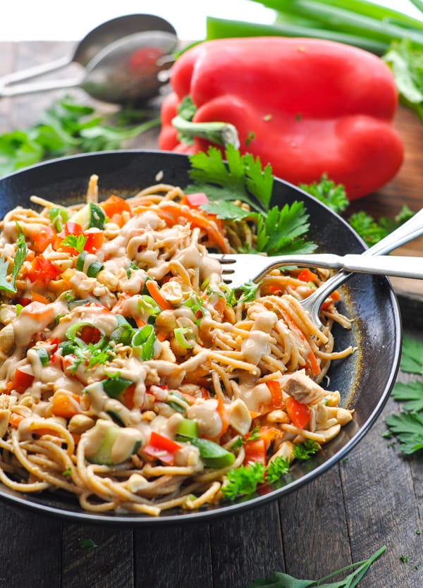 Love a one pot meal like these easy peanut sesame noodles with chicken!