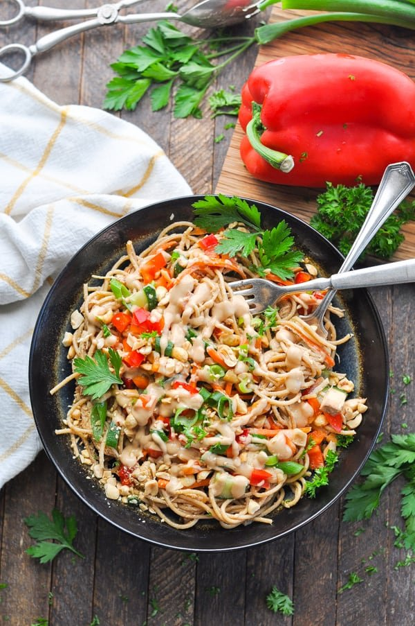 A cold noodle salad like these peanut sesame noodles are an easy and healthy dinner idea for summer!