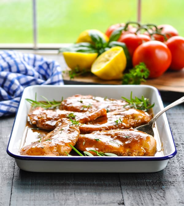 A tray of easy baked chicken breasts makes the perfect weeknight dinner!
