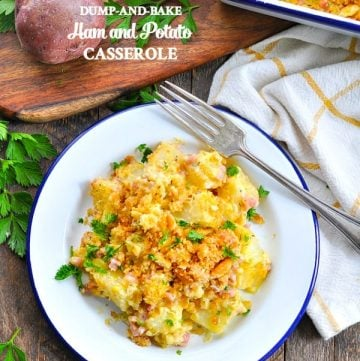 Try dump and bake ham and potato casserole for an easy dinner tonight!