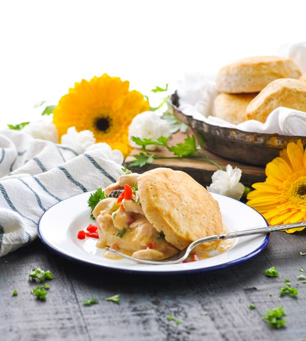 Chicken a la King is perfect served with biscuits for an easy southern dinner recipe!