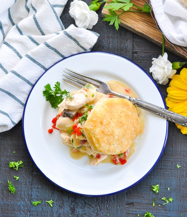 Chicken and biscuits come together with a creamy gravy in this Dump and Bake Chicken a la King!