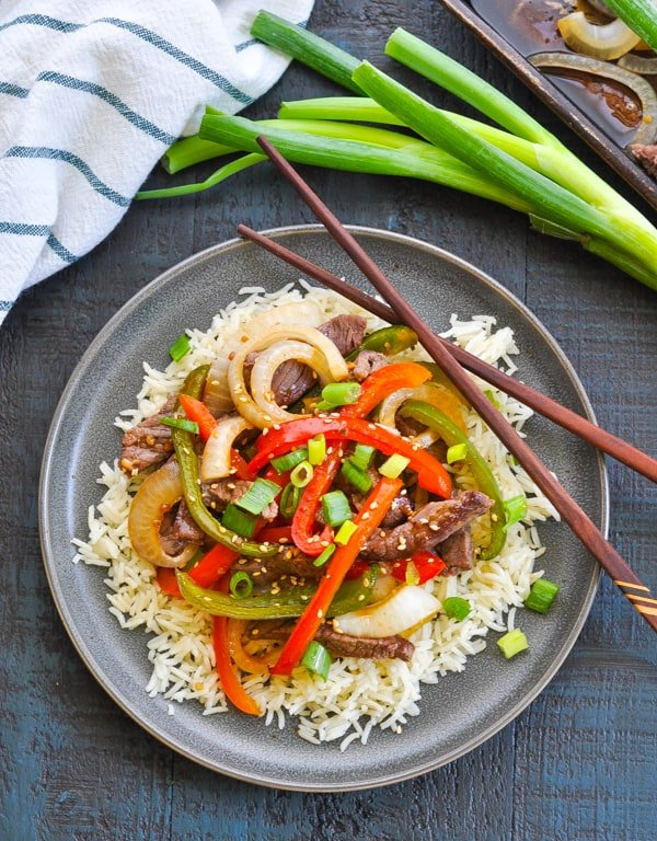 Chinese Pepper Steak and Rice is an easy one tray dinner!