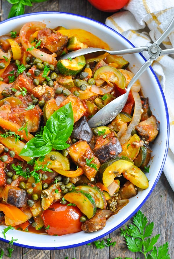 Zucchini tomatoes and eggplant in an easy and healthy ratatouille recipe