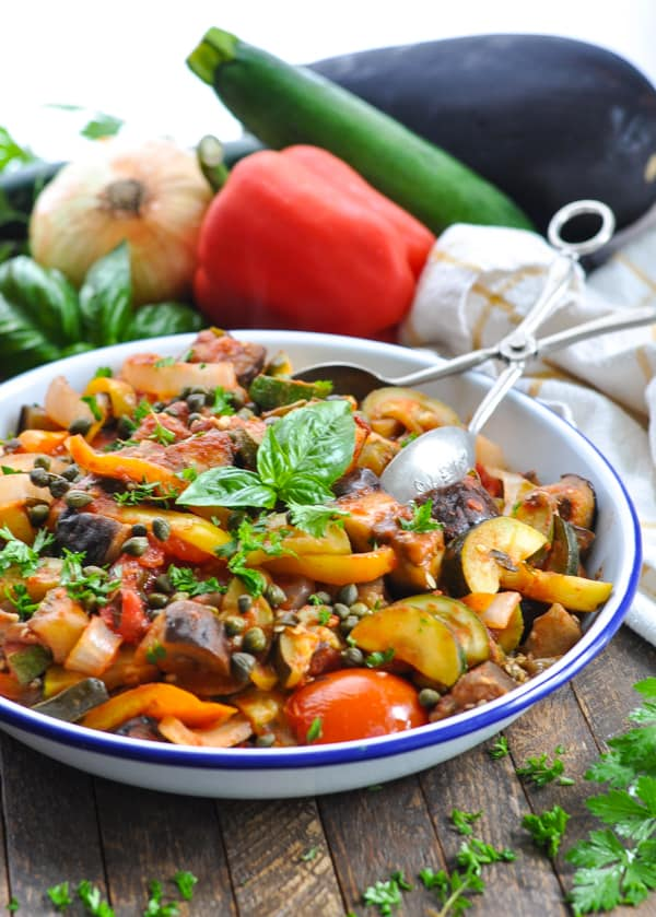 A bowl of healthy ratatouille for an easy side dish or vegetarian dinner