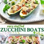 Long collage of Easy Stuffed Zucchini Boats