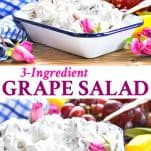 Long collage of 3 ingredient Grape Salad