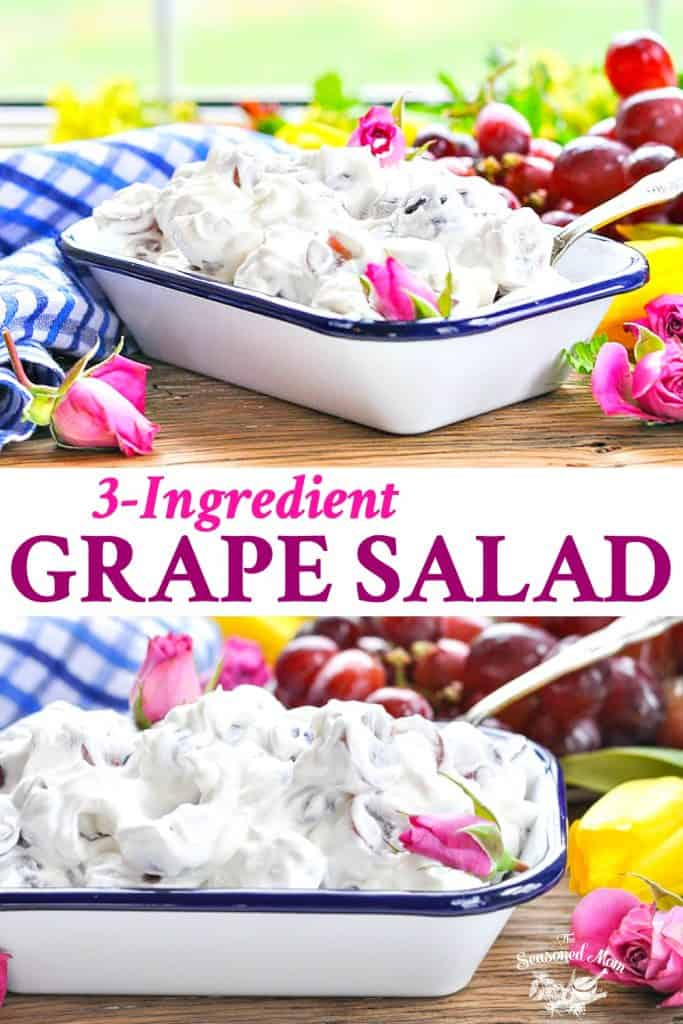Long collage of 3 ingredient Grape Salad